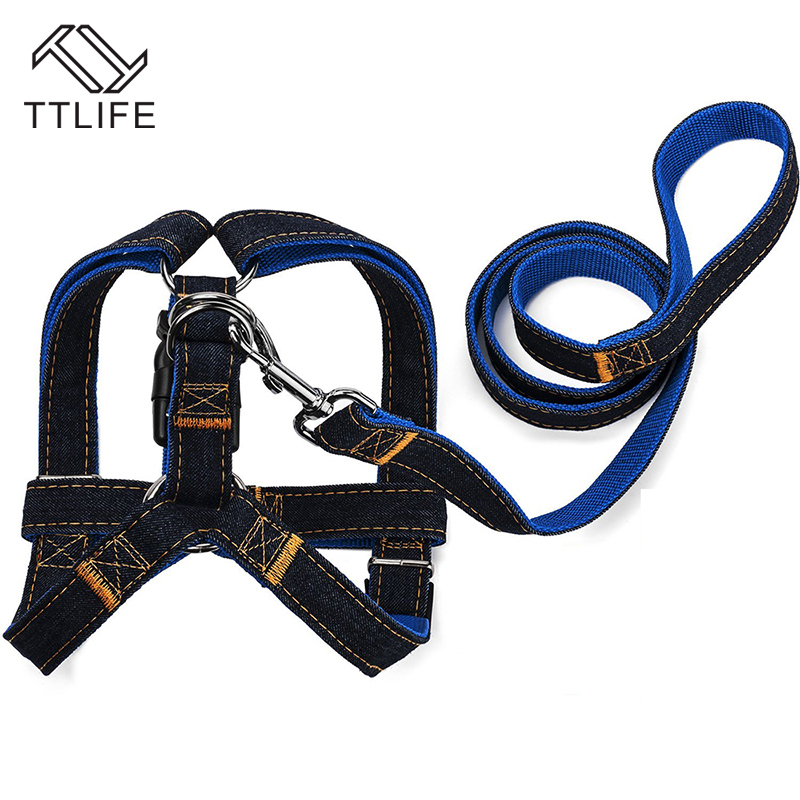 TTLIFE 2015 New Arrival Hot Sales S/M/L Colorful Jean Denim Leash Harness Dog Collar Chain Cat Rope Belt Adjustable Dogs