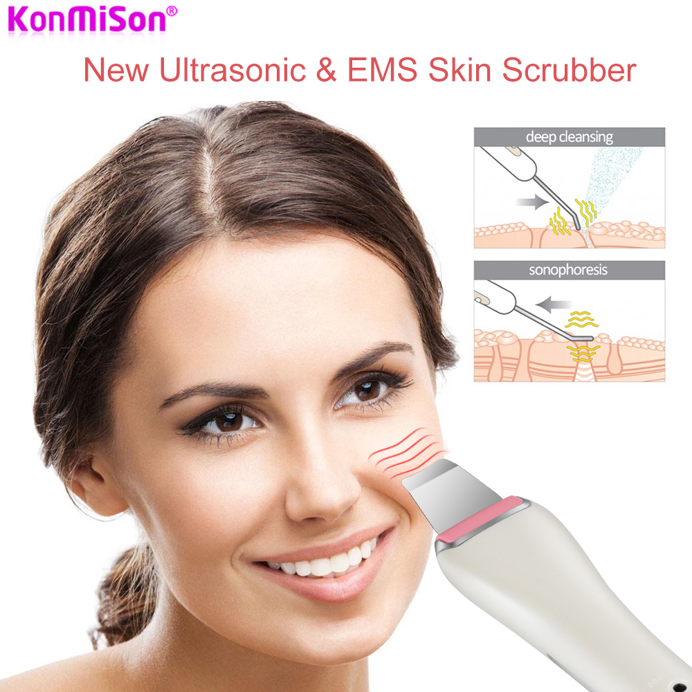 Konmison Ultrasonic Skin Scrubber Facial Cleansing Devices Blackhead Remover Face Spatula Face Exfoliators Facial Pores Cleanser