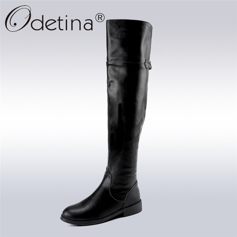 Odetina 2017 New Fashion Riding Boots For Women Thigh High Boots For Plus Size Over The Knee Boots Square Low Heels Winter Shoes lcx 2017 new fashion sweet lady shoes high thigh knee autumn winter over the knee casual women boots plus size boots for women