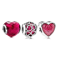 Authentic 925 Sterling Silver Lucky in Love Fuchsia Charm Pack Charm Bracelet Fit Pandora Bracelet DIY Jewelry Bangle for women