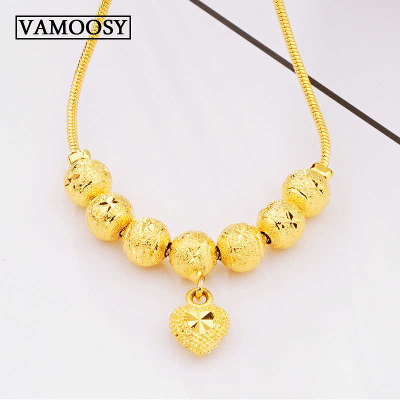 New 24K Gold Color Jewelry Love Heart Necklaces & Pendants snake Chain Choker Necklace Collar Women Statement Jewelry Bijoux