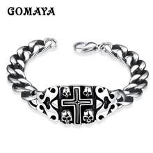 GOMAYA Rock Jewelry Mens Bracelets Skull Cross Stainless Steel Punk Vintage Retro Classic Biker Gift