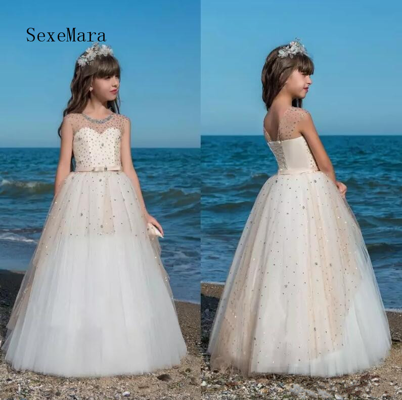 2018 New Luxury Flower Girls Dresses For Weddings Sheer Neck Ball Gown First Communion Dress With Beads Puffy Girls Dresses gorgeous girls communion dresses for girls pink puffy solid o neck ball gown flower girl dresses for weddings birthday vestidos