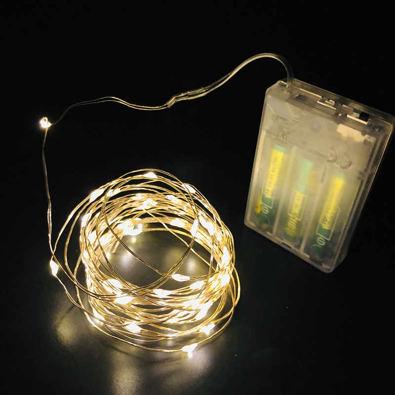 New 2M 5M 10M Copper Silver Wire LED String lights Waterproof Holiday lighting For Fairy Christmas Tree Wedding Party Decoration