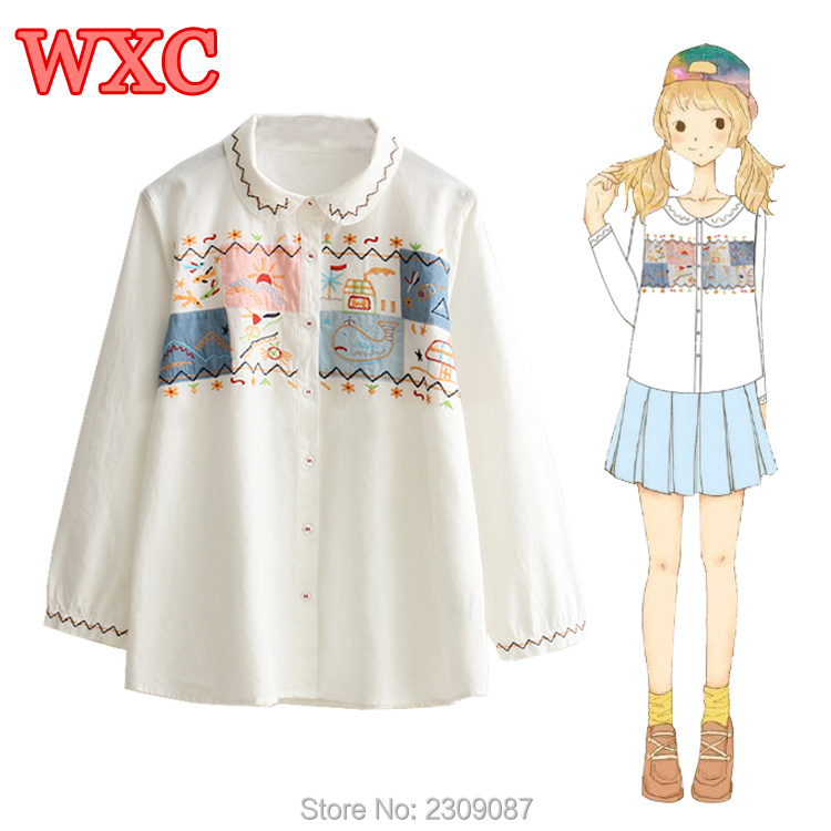 Harajuku Women Blouse Lolita Cute Cartoon Embroidery Folk-custom Style White Shirt Mori Girls Long Sleeve Students Blouses WXC