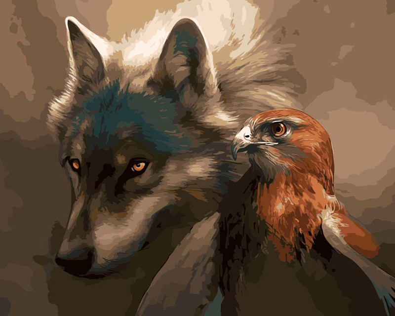 No Frame Wolf and Eagle Animals DIY Painting By Numbers Paint On Canvas Acrylic Coloring Painitng By Numbers For Home Wall Decor