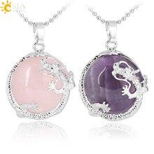 CSJA ожерелья подвески для женщин натуральный камень, Фиолетовый Кристалл розовый с кварцевым тигровым глазом Лава Рок плоские круглые бусины Дракон фитинги F304