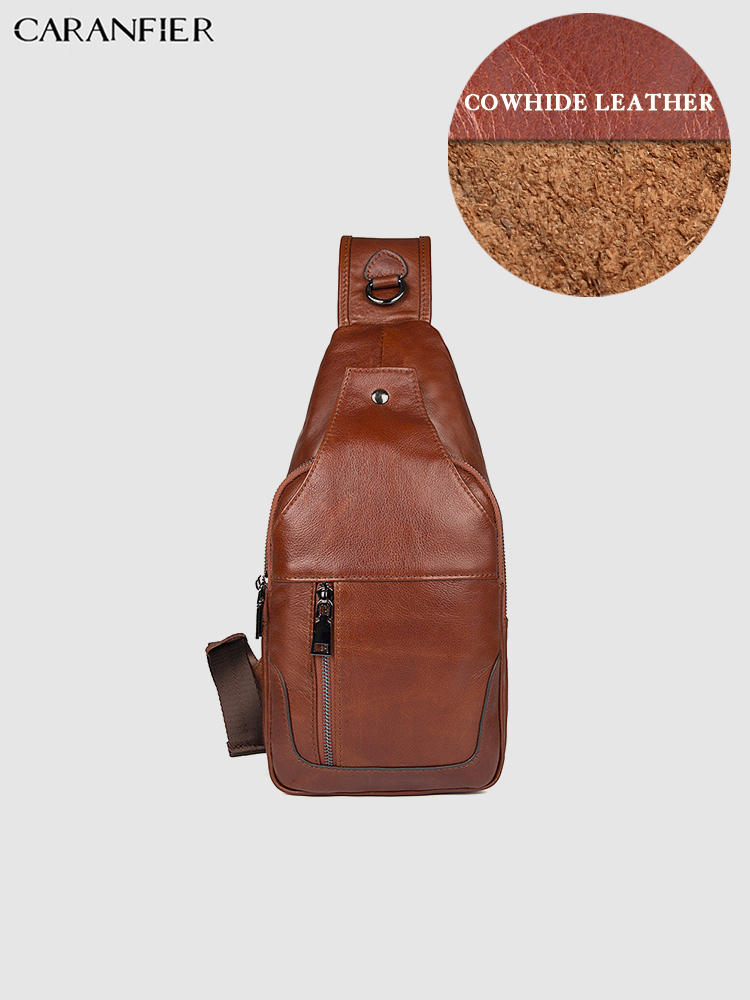 CARANFIER Mens Chest Bags First Layer Genuine Cowhide Leather Classic Shoulder Crossbody Bags Large Capacity Pillow Travel Bags