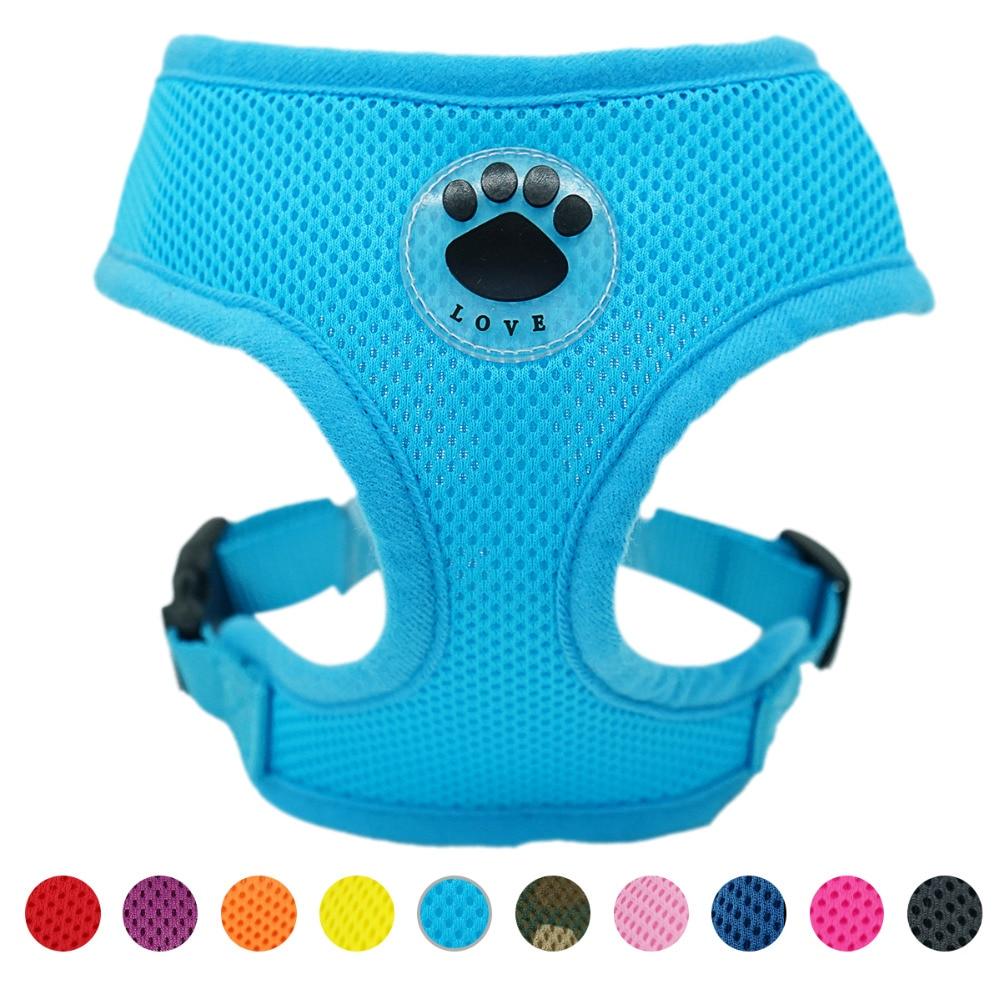 Pata de goma ajustable transpirable suave perro gato perro de Control arnés de malla de Nylon chaleco arnés para mascotas collar de perro en el pecho correa
