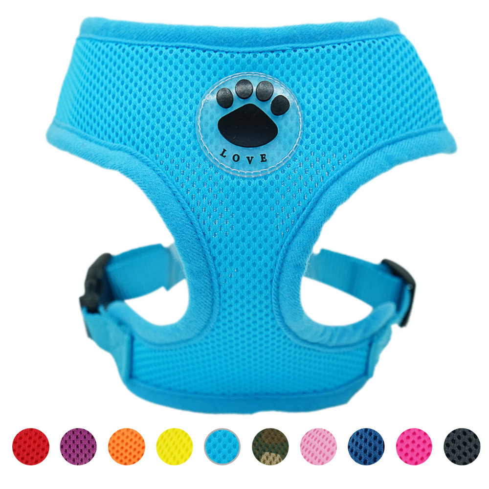 Paw LOVE Rubber Adjustable Soft Breathable Dog Cat Control dog Harness Nylon Mesh Vest harness for Pet puppy collar Chest Strap s m l xl 7 colors pet cats dog leash large dog soft adjustable dog harness pet supplies walk out hand strap vest collar for dogs