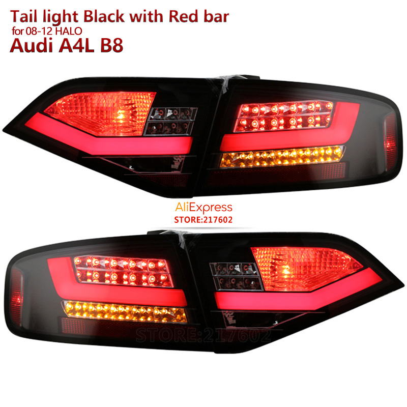 for Audi A4 A4L A4L/B8 LED Tail lights 2008 to 2012 year car original replacement for Halo models Black housing with red bar цена 2017