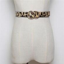 HATCYGGO Double Round Buckle Women Belt Female Leisure Horsehair Leopard Jeans Leather Waist Belts Hollow Out Ladies Strap