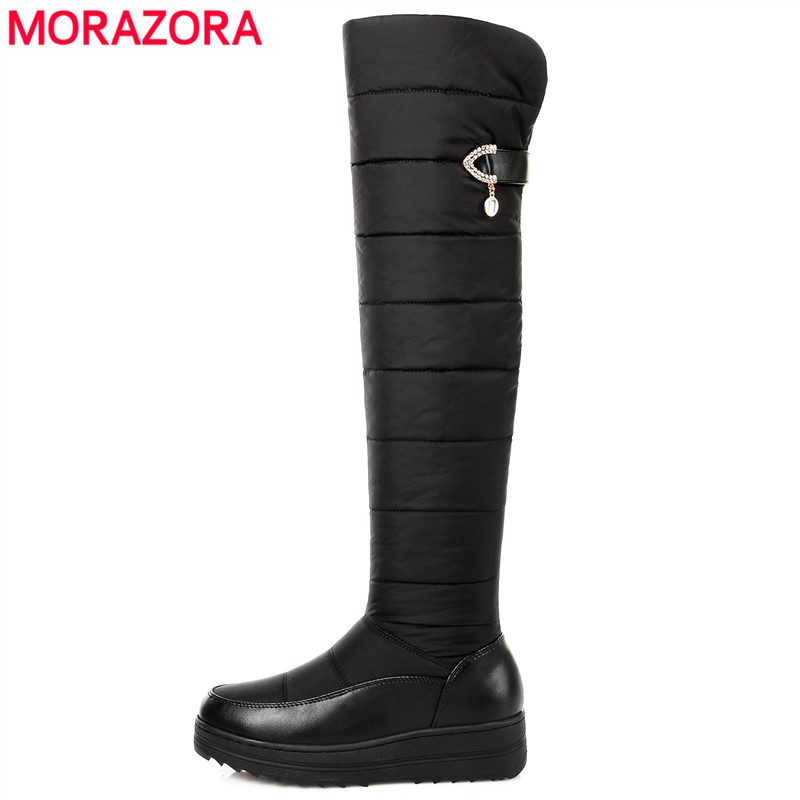 MORAZORA Plus size 35-44 new warm down snow boots round toe platform thigh high boots women over the knee boots winter botas thigh high over the knee snow boots womens winter warm fur shoes women solid color casual waterproof non slip plush wedges botas