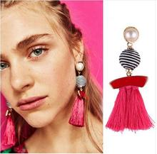 BK Fashion Jewelry Boho Many Color Tassel Earrings Brightness Gold Color Alloy Wide Fringed Drop Earrings Statement alloy rhinestoned fringed chain earrings