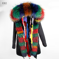 2019 New Women Spring Real Fur Parkas Plus Size Long Sleeve Fur Hooded Detachable Real Fur Liner Coats Jackets for Women