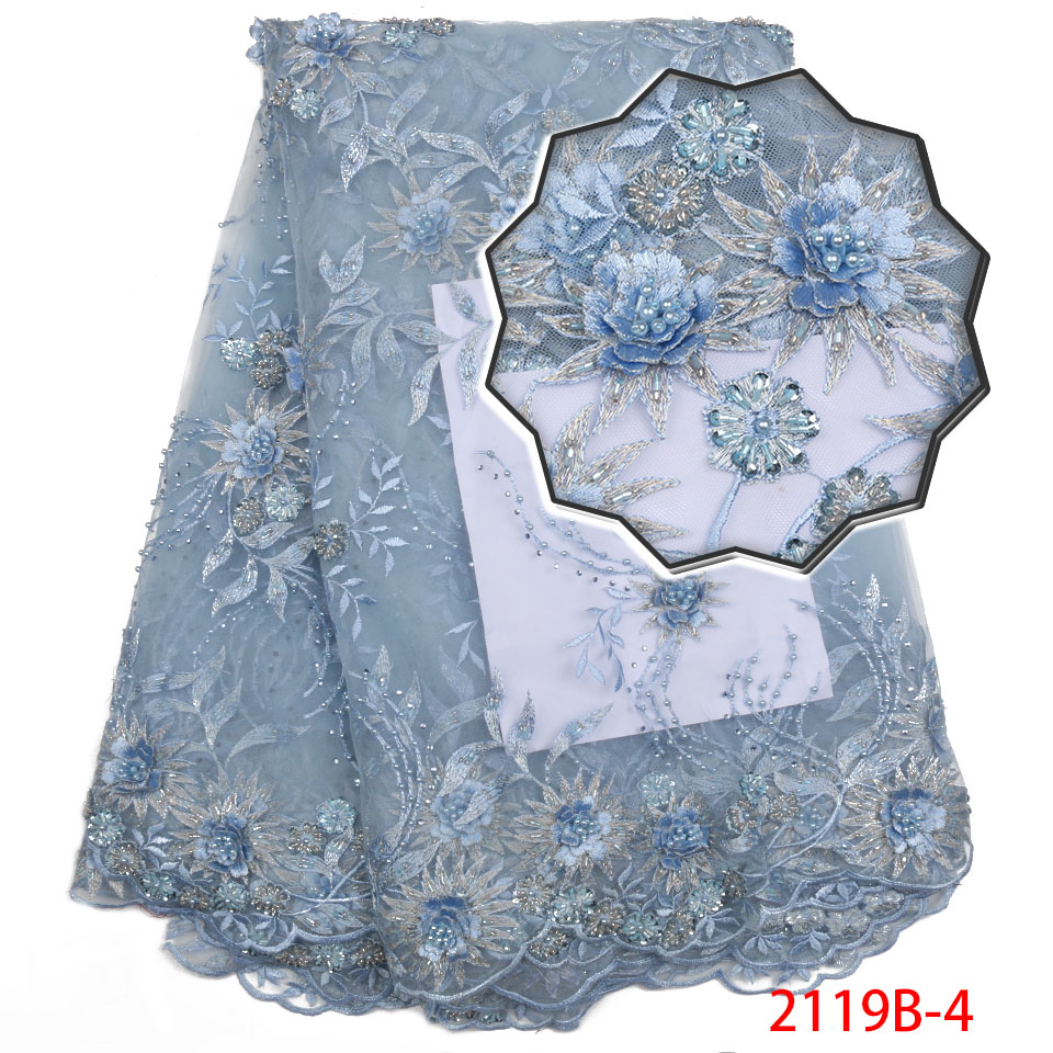 2018 High Quality 3D Flowers with Beads Tulle Lace Fabric Nigerian Embroidered Sequins Tulle Lace Fabric for Wedding APW2119B