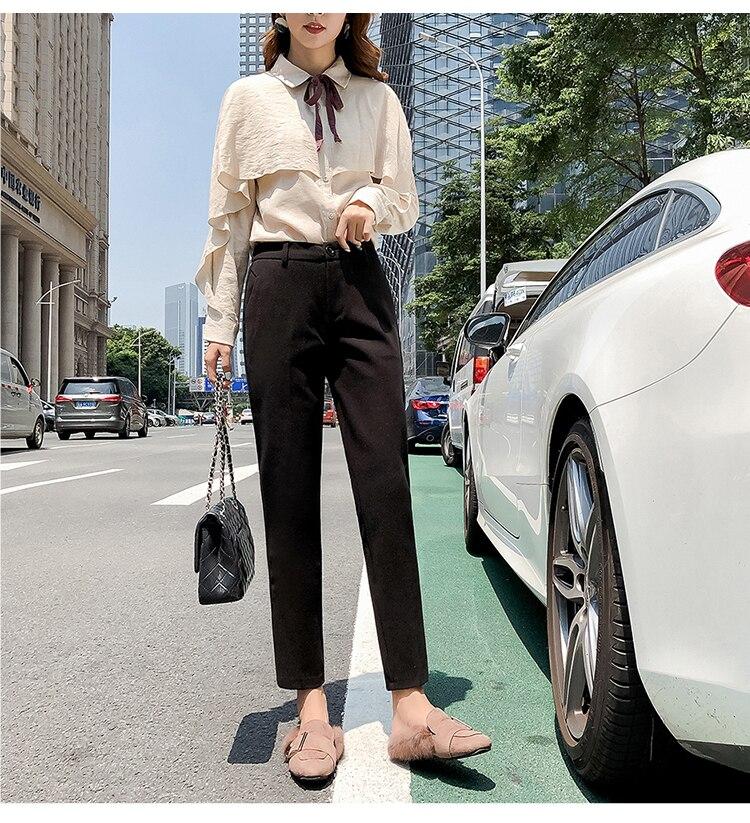 19 Autumn New Women Elastic Woolen Pant Female Plus Size Casual Trousers Black/Gray Harem Pants Winter Wool Ankle-Length Pants 33