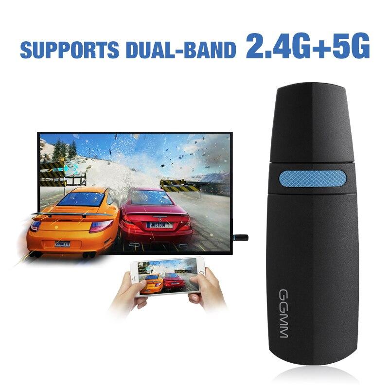 GGMM Miracast Sans Fil Wifi Dongle HDMI Dongle Portable Numérique Mini TV Box Soutien 5g/2.4g Ezcast AirPlay TV Bâton pour Youtube