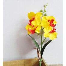 28 см 4 головы бабочка Орхидея, искусственные цветы в горшках искусственные цветы из шелка филиал фаленопсис домашний стол офисный Декор