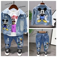 Boy's Jeans Jacket Spring and Autumn Boy's Children's Fashion Thin Jacket Clothes Trousers Boys Girls Set