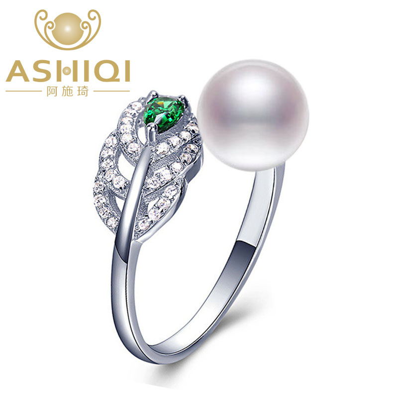 ASHIQI Real 925 Sterling Silver Feather Ring for Women 2019 8-9mm Natural Freshwater Pearl Jewelry