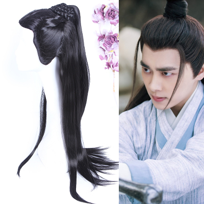 Costume Accessories Long Black Swordsman Cosplay Hair Ancient Chinese Hair For Men Ancient Chinese Hair Accessories Shaped Warrior Hair Novelty & Special Use