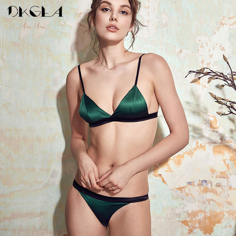 Wire Free   Bra   And Panties   Sets   Brand Lingerie Green Lace Brassiere Ultrathin Cup Cotton Underwear Women   Bra     Set   Sexy Embroidery