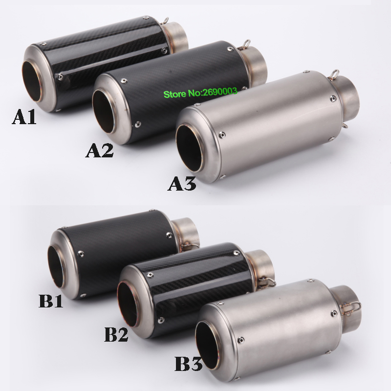 Motorcycle Exhaust Pipe Muffler Inlet 51mm 61mm GP GP Escape Exhaust Mufflers Carbon Fiber Exhaust Pipe With GP sticker