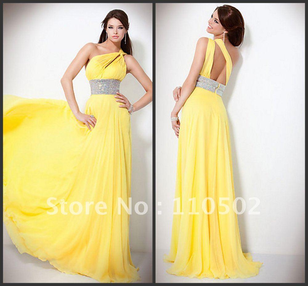2015 Drop Shipping Cost Chiffon Beaded Yellow Elegant Long Formal ...