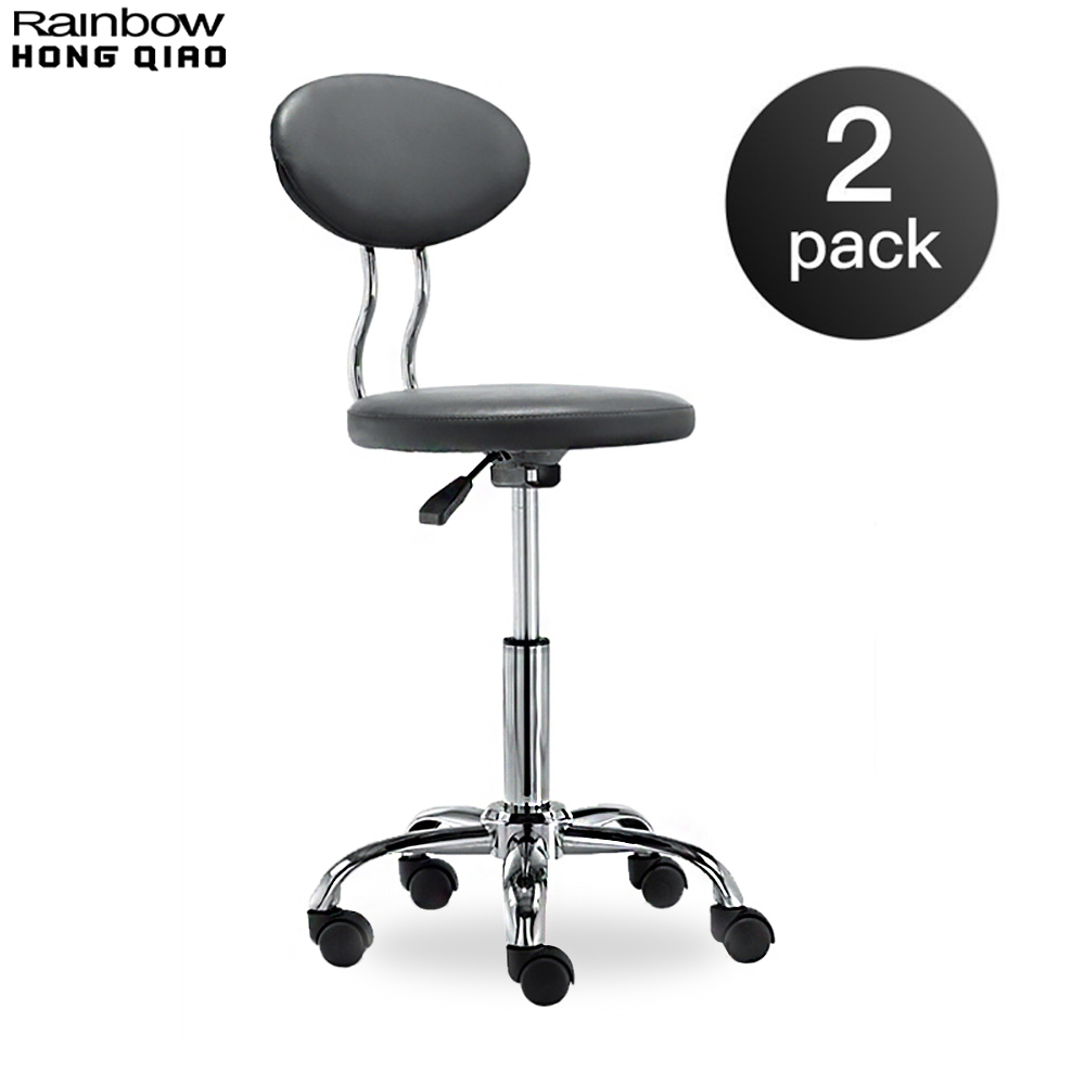2PCS Pack Small Computer Office Reception Chair Rolling Swivel Stool Mini Armless With Back For Counter Bar Salon Makeup Medical european fashion simple lift bar stool high chairs reception swivel stools counter
