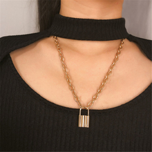 Ailodo Boho Long Thick Chain Lock Pendant Choker Necklace Women Gold Silver Color Statement Fashion Jewelry Gift LD196