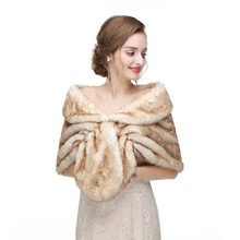 2018 Bolero  Bridal Shawl Fur Faux Fox Wrap Winter Warm Wedding Cape Cloak