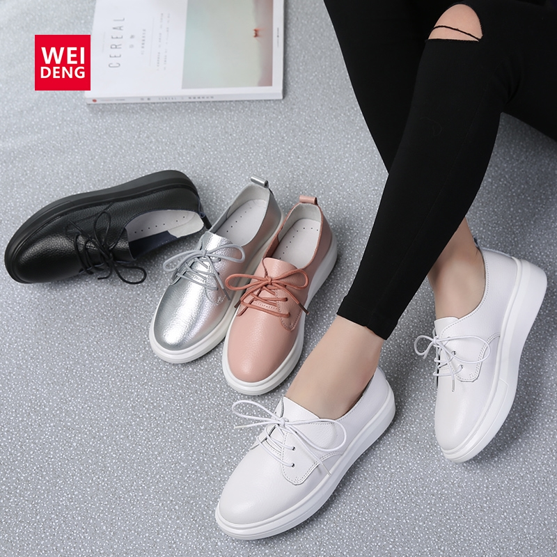 WeiDeng Wedge Platform Genuine Leather Loafer Casual Flats Shoes Walking Sneakers Woman Lace Up Fashion Silver Leisure 6cm Sole