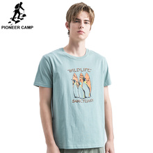 Pioneer Camp Short Sleeve T Shirts Penguin Printed Animal 100% Cotton Shirt Casual Brand Clothing Young people ADT906219