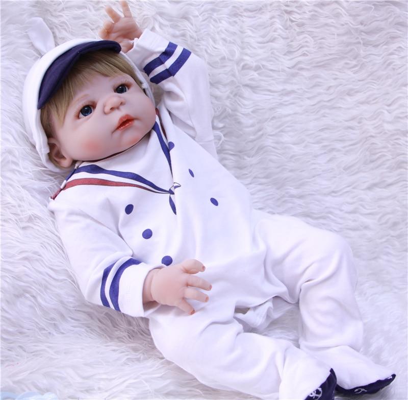 Bebe reborn menino Boneca 23 pouces 57 cm corps entier silicone vinyle reborn bébé garçon poupées lol jouets cadeau pour enfant - 3