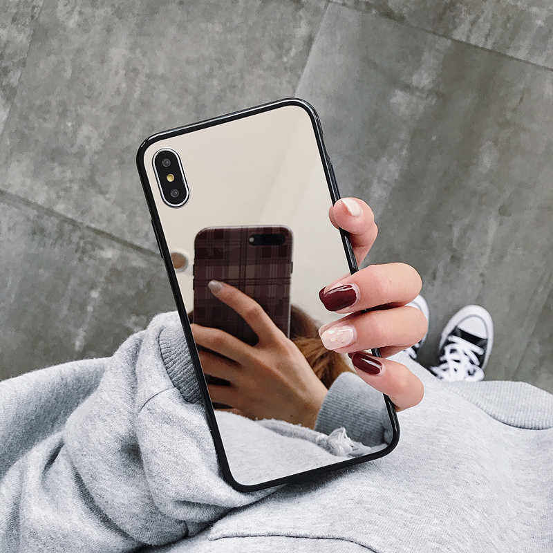 Luxury Plating Women Mirror Silicone Case For iphone XS MAX XR X 6 6s 7 8 Plus 11 Pro Cover Black TPU Bumper Soft Phone Cases