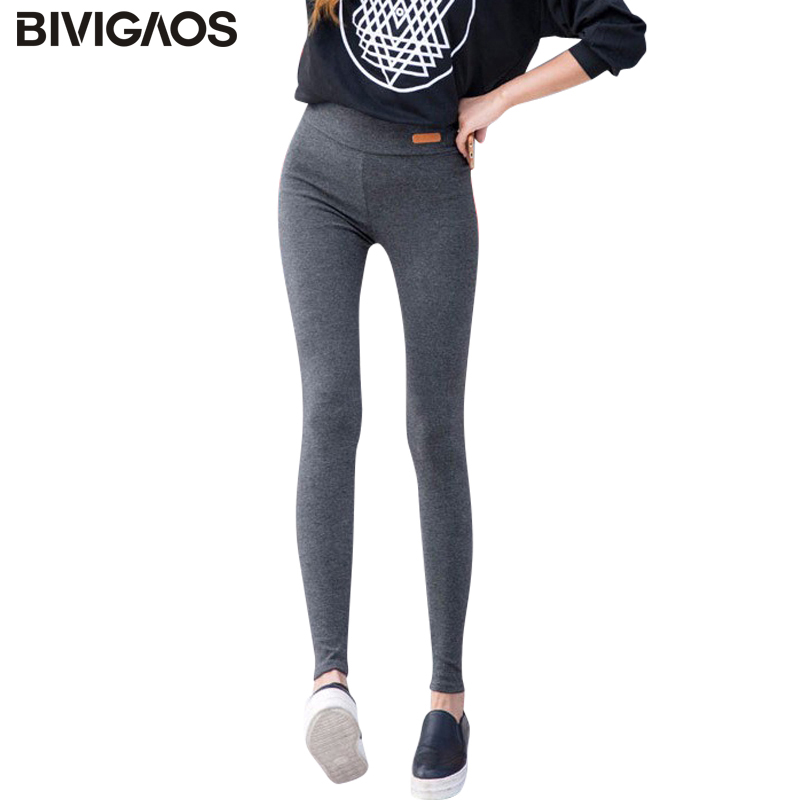 BIVIGAOS Nye kvinner Casual Thicken Nine Bukser Leggings Waist Leather Lable Elastisk Cotton Leggings Bukser Female Women Clothing
