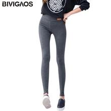 BIVIGAOS New Womens Casual Thicken Nine Pants Leggings Waist Leather Lable Elastic Cotton Leggings Pants Female Women Clothing