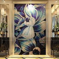 Custom Hand craft flower art glass mosaic murals D2007