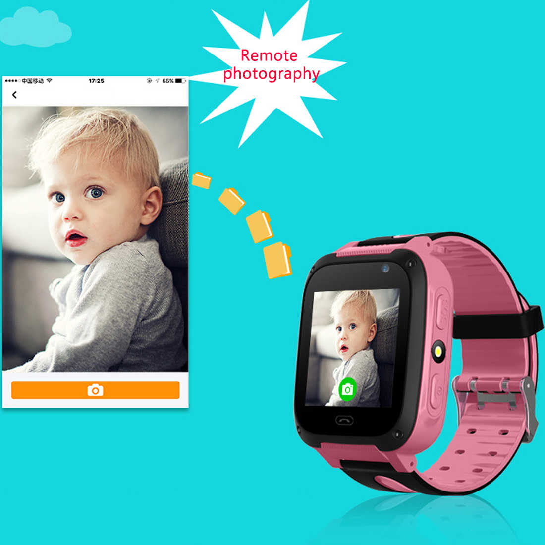 Child Waterproof baby GPS Smart Watch with Camera Flashlight SOS Call Location 1.44 inch Touch Screen Anti-Lost Monitor Tracker