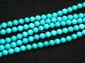 Envío libre (5 hilos/sistema) 6mm azul turquesa redonda joyería perlas sueltas al por mayor