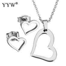 Exquisite Heart Stainless Steel Jewelry Set For Women Heart Necklace Pendant Stud Earrings Women Lover Wedding Sets