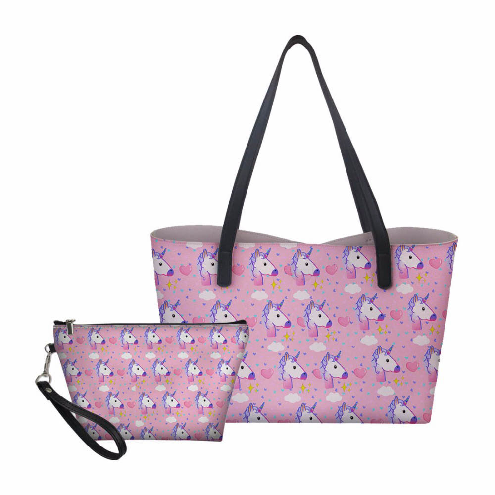 Personnalisé 3 pièces/ensemble en cuir PU licorne sac ensemble pour les femmes doux PU Femme Designer Messenger sacs à bandoulière sac à bandoulière sacs à main