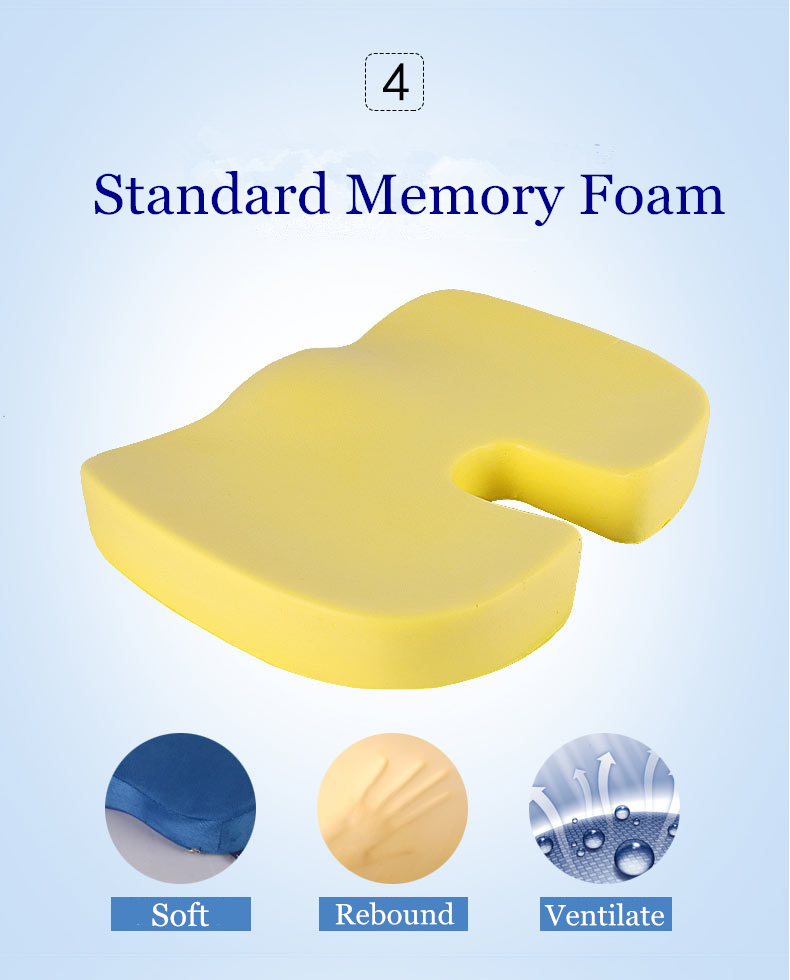 PurenLatex 45*35*7 Hot Sale Slow Rebound Bamboo Charcoal Memory Foam Chair Car Seat Hips Pillow Tailbone Coccyx Protect Cushion