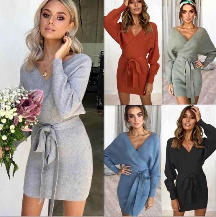 b5e0514e2cb 2019 осень-зима вязаное платье Для женщин с длинным рукавом Теплый Платья-свитеры  Повседневное