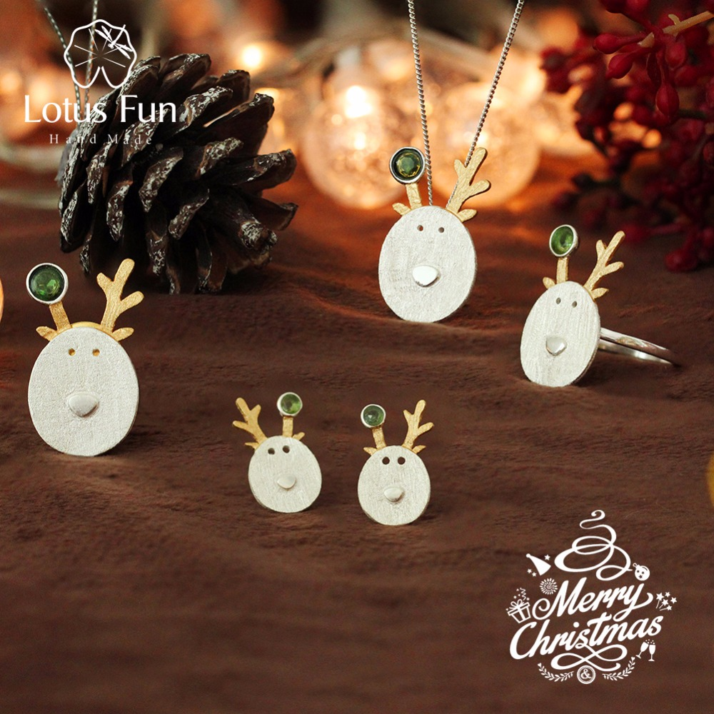 \tLotus Fun Real 925 Sterling Silver Creative Handmade Fine Jewelry Christmas Joys Cute Reindeer Jewelry Set