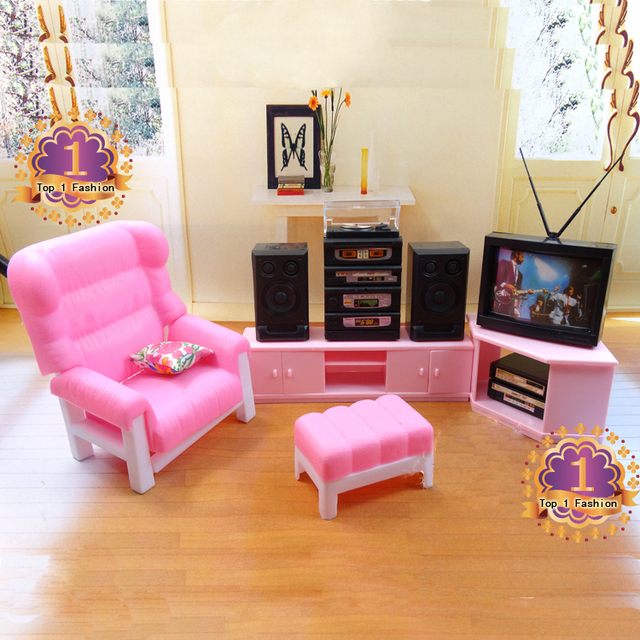 New arrival girl gift play toy doll house TV room furniture for 1/6 ...