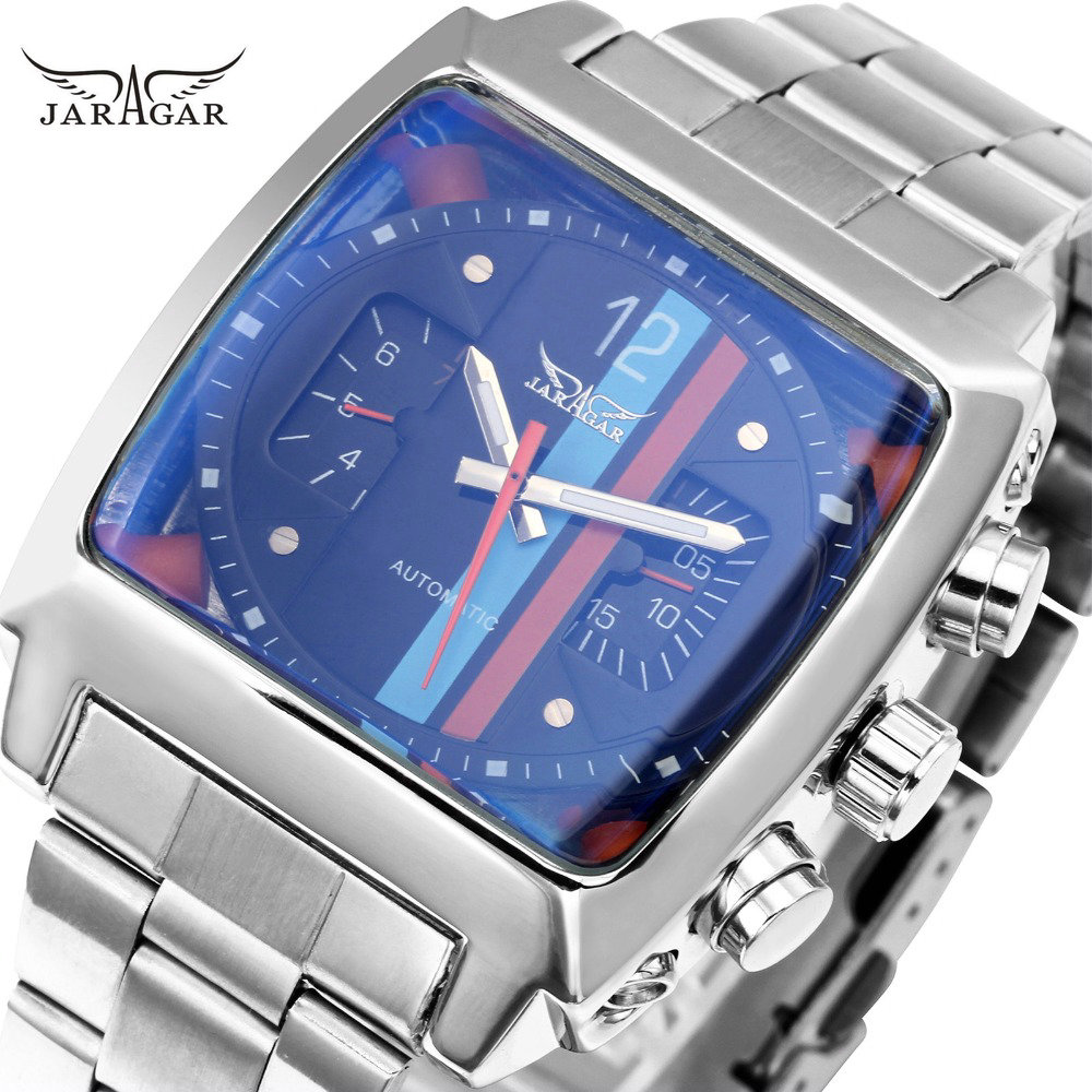 WINNER Men Fashion Mechanical Watch Stainless-steel Strap Strap Unique Design Auto-self-wind Cool Wristwatch Gift for Boyfriend 2017 read men fashion automatic watch self wind mechanical wristwatch male clock classic stylish design stainless steel watch
