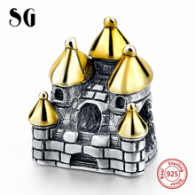 MANBU Fits European Charm Bracelet Castle Silver Beads With Gold Plating Roof For Newest Original 925 Sterling Charms DIY