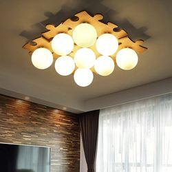 Sypialnia lightJapanese z litego drewna sufit światło proste kreatywne Nordic logi oświetlenie salonu ciepłe drewniane światła w sypialni DIY CL